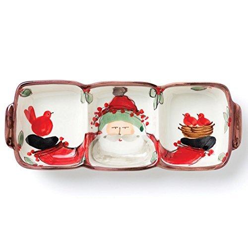Vietri Santa (Old St. Nick 3 Part Divided Santa Serving Dish - 13L. by VIETRI)