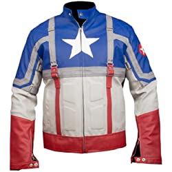 Leatherly Chaqueta de hombre Captain America The First Avenger Armour Cuero Chaqueta- 5XL