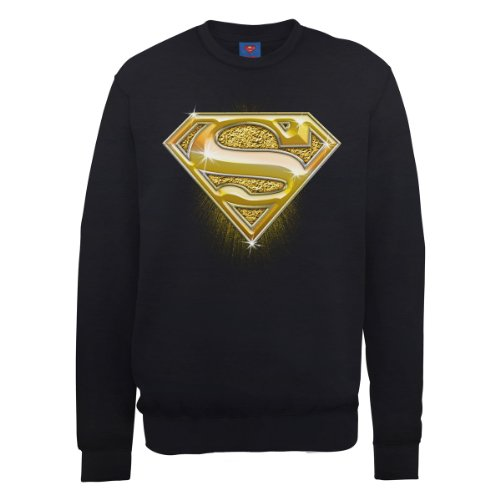 DC Universe Herren Sweatshirt Dc0000786 DC Comics Official Superman Bling Logo Schwarz - Schwarz