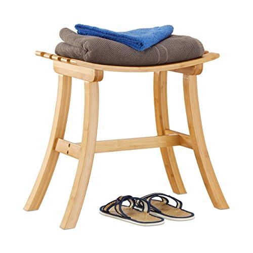 garderobe hocker Relaxdays Hocker aus Bambus, elegant geschwungener Sitzhocker f. Garderobe, Holzhocker HxBxT: 48 x 56 x 28,5 cm, natur