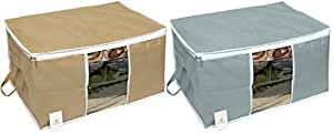 Homestrap Big Underbed Storage Bag/Storage Organiser/Grey & Beige/Set of 2