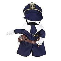 DescriptionCet animal de compagnie chien chat Cool policier uniforme dispose de deux jambes uniforme policier permanent orné d'une ceinture, pistolet grêle, baton grêle et boutons delicated, marchant avec chemise blanche col et poliman chapeau. Il es...