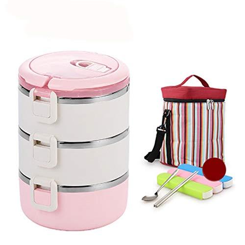 BABIFIS 304 Edelstahl-Lunch-Box, Multi-Layer-Isolierung Lunchbox Super Lange Isolierung Anzug, mit versiegelten Thermos-Eimer, 3 Farben