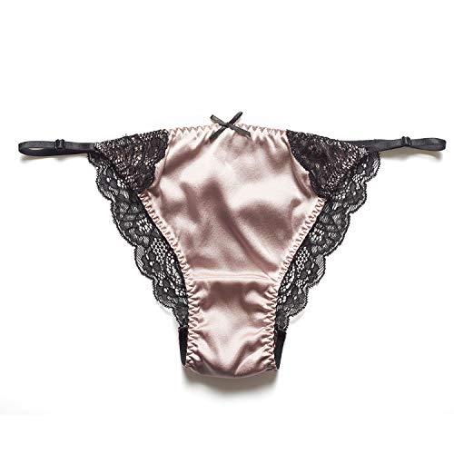 SilRiver Damen-Bikinihose aus Seide, Satin, String Bikini Undepants Slip Spitze, Tanga Hipster für Damen und Mädchen - Pink - Small/Medium - Spitze Und Satin-hipster
