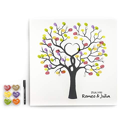 codiarts. Leinwand für Hochzeit, Jubiläum, Familienfeier, als Gästebuch inkl. Stempelkissen und Stift - Motiv Baum - 50x50cm, Made in Germany