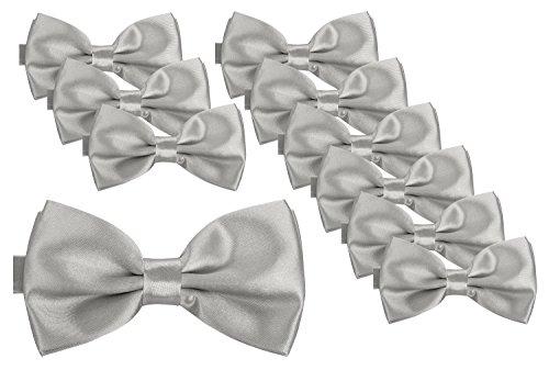 Herren silber I Männer Fliege für Hochzeit, Party oder edele Anlässe I Trendy Bow Tie I 10er Set ()