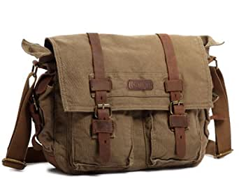 Kattee British Style Retro Mens Canvas Leather Messenger Traval Shoulder Bag Fits 15 Inch Laptop (Army Green)
