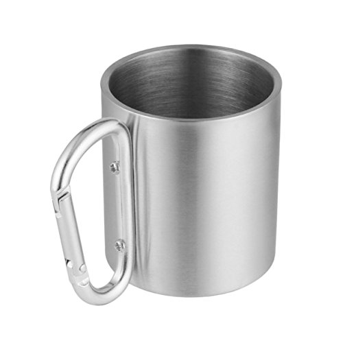 Outdoor Edelstahl Wasser Tee Kaffeetasse Self Lock Karabiner Griff Tasse Für Camping Wandern Klettern Tragbare