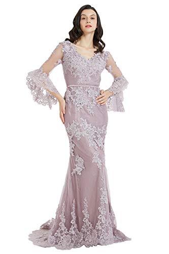 Ausschnitt Sweep (Special Bridal Robe Sirene Robe de Soirée V-Ausschnitt Spitze Meerjungfrau Abendkleider Sweep Zug Trompete Ärmel 2019 Partykleid)