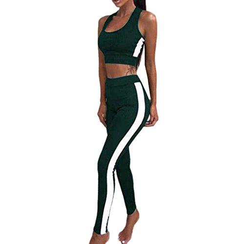 ZEZKT☀BH Top + Leggings Damen Sportbekleidung Set Trainingsanzug Stitching Sport Wear Yoga Workout Pants Fitness Sporthose Jogginghose Skinny Hosen Atmungsaktive Elastische Dünne Hosen (S, Grün) (Stück Stretch-mesh-3)