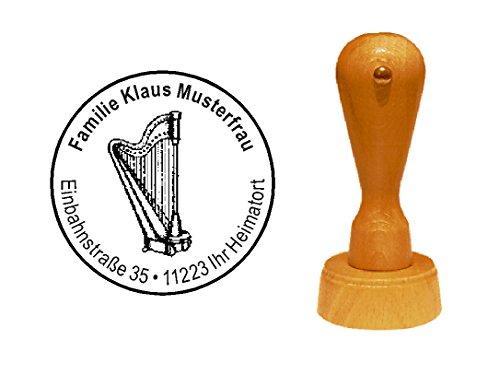 Stempel Holzstempel Motivstempel « HARFE » mit persönlicher Adresse - Musiker Zupfinstrument Instrument