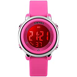 ETOWS® Digital Kids Watch Band with Hourly Chime Stopwatch Daily Alarm & Calendar Roseo