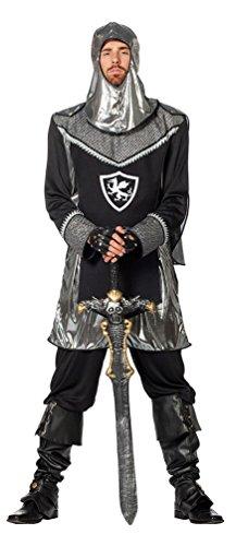 Für Kreuzritter Erwachsenen Kostüm - Karneval-Klamotten Ritter Kostüm Herren für Erwachsene schwarz-Silber Mittelalter-Kostüm Kreuz-Ritter Karneval Herren-Kostüm Größe 54