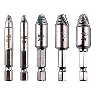 ARTGEAR 5pcs Damaged Screws Extractor Set with Case 1/4 Inch, Broken Bolt Remover 6.35mm, Easily Remove Stripped Damaged Screw, Made of High-Speed Steel HSS 4241#