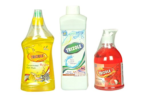 Trizole Fabric liquid detergent 1 ltr,Fruit Flavor Anti bacterial hand wash 500 ml And Concentrated Dish wash 500 ml Combo Pack