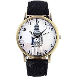 JSDDE Unisex Retro Bronze Case Big Ben Dial Black Canvas Veins PU Leather Band Watch