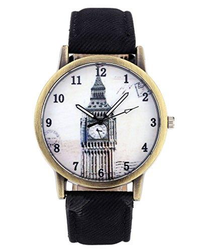 JSDDE Uhren,Vintage London Big Ben Armbanduhr Bronze Gehäuse Damen Uhren Denim-Gewebe-Lederband Analog-Quarz-Uhr,Schwarz (Bronze-gewebe)