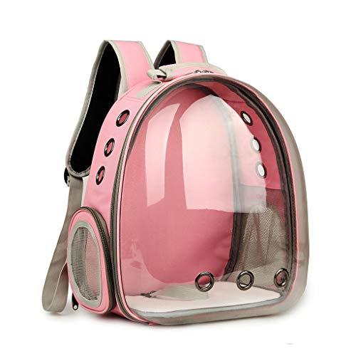 WuLi77 Pevt trasportino per cani e gatti, traspirante trasparente capsula zaino trasportino per animali domestici per escursioni, passeggiate, ciclismo e attività all'aperto rosa
