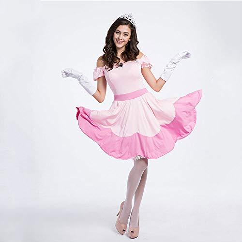 Märchen Kostüm Professionelle - Erwachsene Frauen Mädchen Märchen Prinzessin Rosa Kleid Cosplay Kostüm Slash Neck Kurzarm Eine Linie Halloween Party Kleider