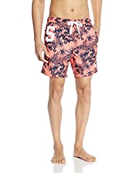 Superdry Mens Synthetic Shorts (5054265365034_M30MP004_Medium_Coral Palm)