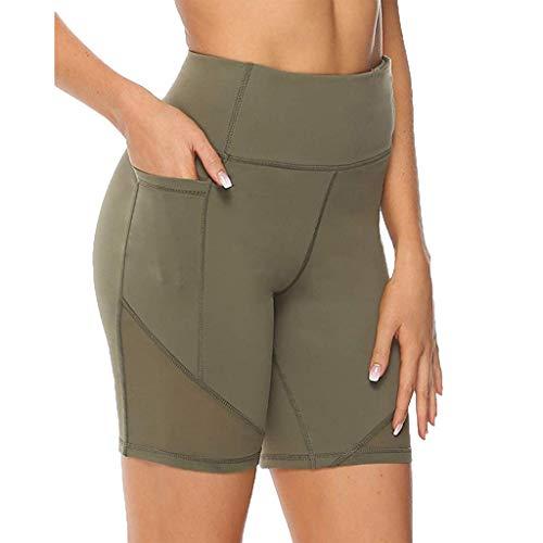 Clacce Damen Fitness Shorts Sport Leggings Yoga Sporthose Kurze Yogahose Workout Tights Hohe Taille mit Taschen