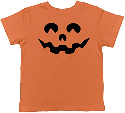 Crazy Dog Tshirts - Toddler Cartoon Eyes Pumpkin Face Funny Fall Halloween Spooky T Shirt (Orange) - 5T - Baby-Jungen - 5T (Für Kinder Spooky Halloween-cartoons)