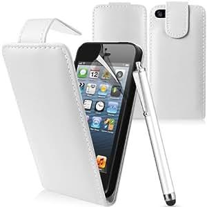 Etui Housse Luxe Blanc pour Apple Iphone 5 + STYLET et 2 FILMS OFFERTS !!