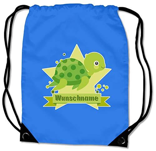 Samunshi® Turnbeutel mit Motiv Schildkröte und Name für Jungen und Mädchen personalisierbar personalisiert mit Namen Sportbeutel für Schule Sport Sporttasche Saphir blau