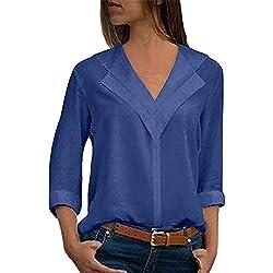 MORCHAN Tops Veste à Capuche Sweat Shirt Chemisier Manteau Tricots Tunique T-Shirt en Mousseline de Soie Solide pour Femmes(FR-42/CN-L,Bleu)