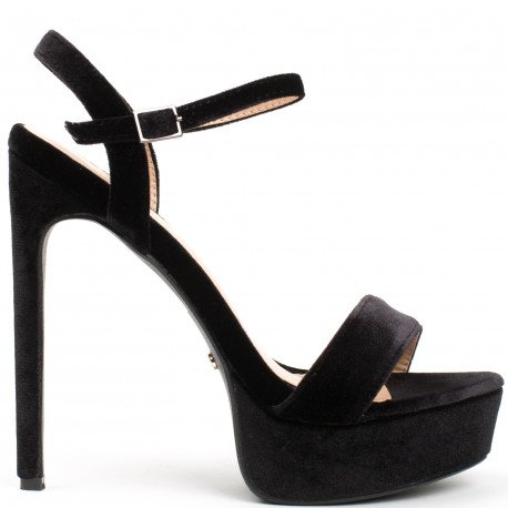Ideal Shoes - Sandales effet velours Helena Noir
