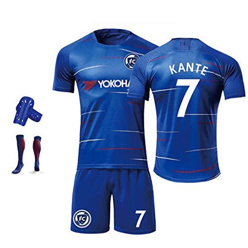 FNBA Hazard # 10 Morata # 9 Kante # 7 Trikot Chelsea Home 10 Fußballtrikot und Shorts - Jugendfußballtrikots für Kinder, Jungen, Mädchen und Kinder-blue7-110cm