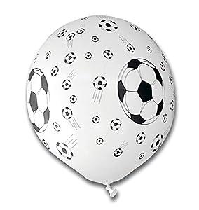 tib 16768 - Globos de fútbol (5 unidades), diseño de balón de fútbol, color blanco y negro