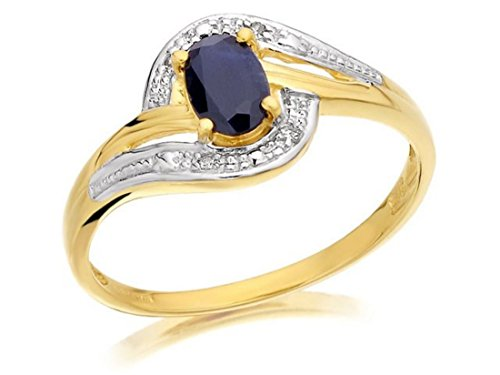 1d4b3d76c F. Hinds Womens Ladies 9ct Yellow Gold Sapphire And Diamond Crossover Twist  Ring - Q