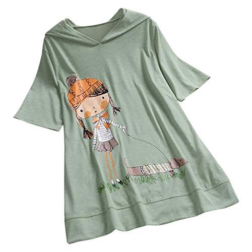 VEMOW Camiseta de Manga Corta con Capucha y Estampado de Dibujos...