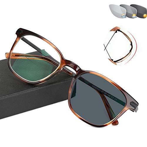 ADDG Lupenlesebrille, optische Brille, Solarantrieb, Strahlenschutz, UV-Schutz, Farbwechsel, für Männer/Frauen geeignet,1.5