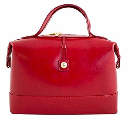 Superflybags Borsa Bauletto Donna in Vera Pelle Liscia modello Serena Made in Italy rosso