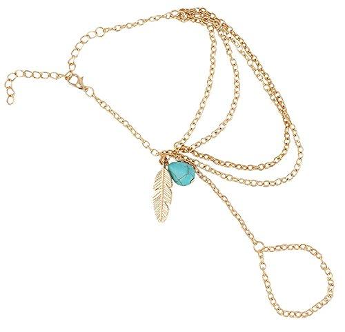 Cinderella Collection By Shining Diva Multi Strand Bracelet for Girls (Golden) (7314b)