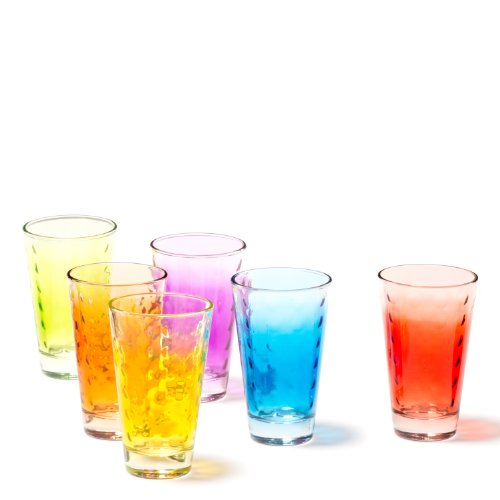 Leonardo Optic Becher groß farbig Sortiert, 6-er Set, 300 ml, verschiedenfarbige Gläser mit Colori-Hydroglasur, 035247