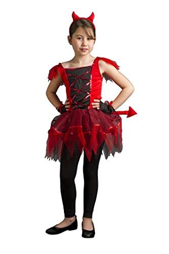 CARITAN disfraz Sweet Little Devil costume con diadema y rabo en cubierta de lujo para niños (8-10años)