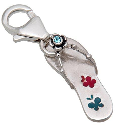 Charm-ciondolo a forma di flip-flop in argento Sterling{925}, rodiato, con un cristallo