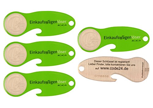Code24 Einkaufswagenlöser Münze, Flaschenöffner als Schlüsselanhänger mit Einkaufschip & Schlüsselfinder, inkl. Registriercode für Schlüsselfundservice, Einkaufswagenchips, Key-Finder, grün, 5er Set
