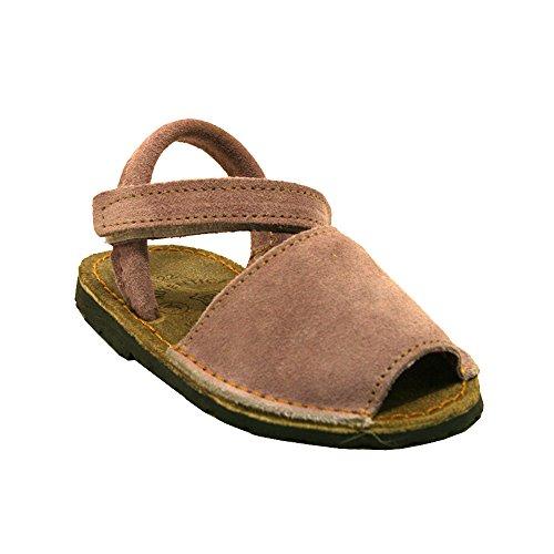 15091S - Sandalias ibicencas Velcro Serraje Rosa bebé