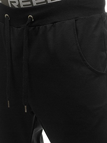 BOLF Pantaloni da tuta – Tipo jogger – Con patch di ecopelle - Stile street – Da uomo F6F Nero_3777