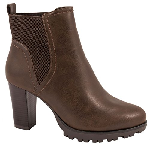 Elara Ankle Boots | Trendige Damen Stiefeletten | Blockabsatz Plateau Wildlederoptik braun 39