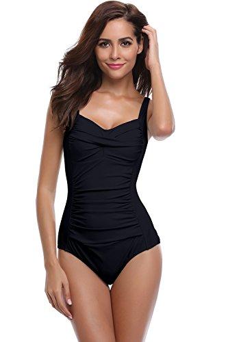 SHEKINI Damen Einteilige Blumen Einfarbig Badeanzug Monokini Verstellbarer Oder Nicht Verstellbarer Schultergurt Badeanzüge Falten Bademode Schwimmanzug, A-schwarz, XL