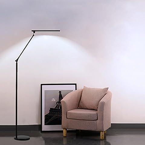 Tonffi Klassische 8W 420LM LED Standlampe mit dimmbare Funktion und Touch-Schalten Energiesparende Stehlampe geeignet für Wohnzimmer/Schlafzimmer/Studierzimmer/Büro usw. geben ein Nachtlicht als Geschenk schwarz Runde Lampenfuß