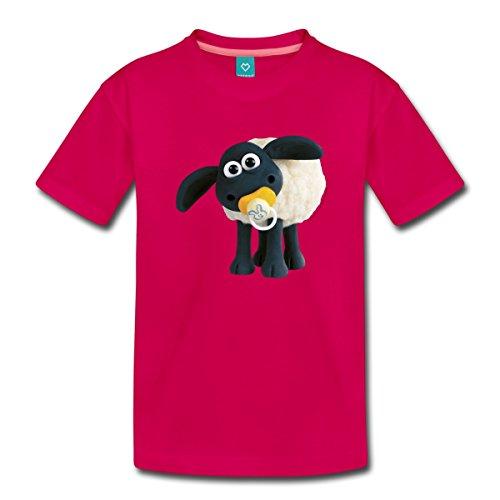 Lamm Dunkler T-shirt (Spreadshirt Timmy Shaun das Schaf Kinder Premium T-Shirt, 98/104 (2 Jahre), dunkles Pink)