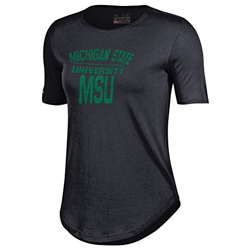 Under Armour NCAA Damen 6040Tee, damen, schwarz (Michigan University State Shorts)