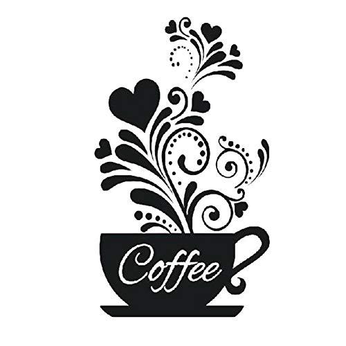 Lumanuby 1x Kaffee Tasse Wandaufkleber mit Dampf Erhitzen und Herz Bild für Küche Café Restaurant oder Hotel, Wasserdicht 'Coffee' Wand Decal für Glasfenster, Schwarz, Wandtattoo Serie Size 30x50cm