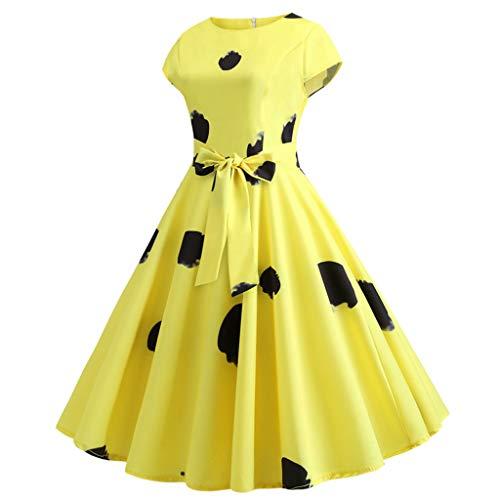 CUTUDE Damen Kleider Röcke Kurzarm Sommerkleider Frauen Vintage Kurzarm Print Freizeit Abendkleider (Gelb, Large)